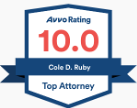 "10.0 Avvo ""Top Attorney"" Rating Badge for Cole Ruby"